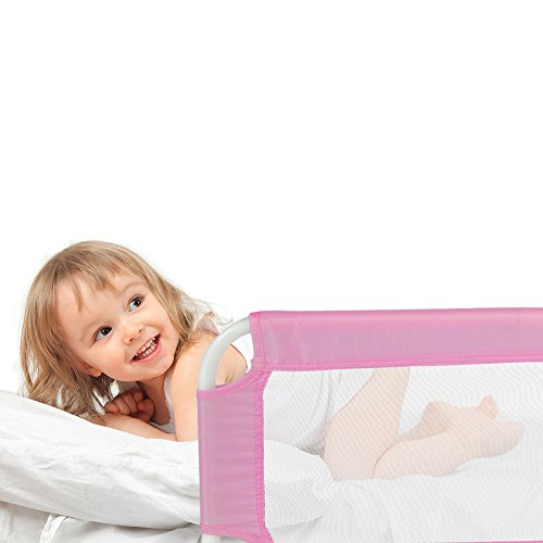 Achat tectake barri re de lit pour b b enfant syst me protection portable 102cm rose barri re - Barriere protection lit enfant ...