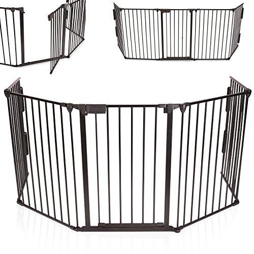 KIDUKU-Barrire-de-scurit-grille-de-protection-mtal-Parc-pour-enfants-Parc--bb-Grillage-Scurit-enfants-Longueur-de-310-cm-noir-0