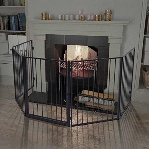 achat vidaxl cl ture pour chemin e en acier noir barri re de s curit pour enfant b b animal. Black Bedroom Furniture Sets. Home Design Ideas