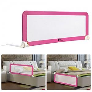 Amzdeal-Barrire-de-Lit-Portable-pour-bb-enfant-Barrire-de-scurit-Lavable-en-Nylon-Plastique-150-50-40cm-Rose-0