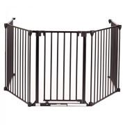 Baby-Vivo-Barrire-Parc-en-Mtal-Grille-pour-Chemine-41-Pare-feu-Securit-Escaliers-Enfant-en-Noir-4-Barreaux-avec-une-Porte-0-0