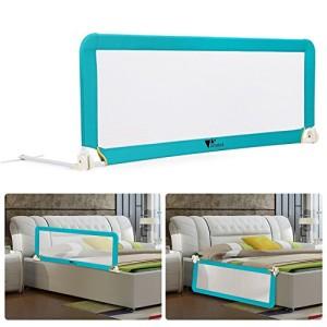 Amzdeal-Barrire-de-Lit-Portable-pour-bb-enfant-Barrire-de-scurit-Lavable-en-Nylon-Plastique-150-50-40cm-Bleu-0