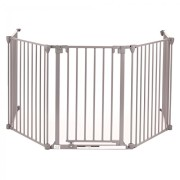 Baby-Vivo-Barrire-Parc-en-Mtal-Grille-pour-Chemine-41-Pare-feu-Securit-Escaliers-Enfant-en-Gris-4-Barreaux-avec-une-Porte-0-0