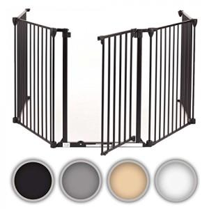 Baby-Vivo-Barrire-Parc-en-Mtal-Grille-pour-Chemine-41-Pare-feu-Securit-Escaliers-Enfant-en-Gris-4-Barreaux-avec-une-Porte-0