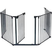 LCP-Kids-Barrire-de-scurit-Grille-de-protection-chemine-Enfant-Parc-Bebe-mtal-pliable-avec-1-Porte-et-4-Element-0-0