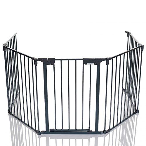 LCP-Kids-Barrire-de-scurit-Grille-de-protection-chemine-Enfant-Parc-Bebe-mtal-pliable-avec-1-Porte-et-4-Element-0