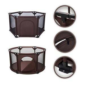 BABY-VIVO-Parc-Bb-Barrire-Scurit-Portable-Enfant-Protection-Porte-Panel-Espace-Jeu-Chambre-Flexi-Pliable-en-Brun-Rond-0