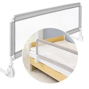 Grille-de-protection-Fillikid-Pour-lit-et-barrire-de-scurit-pour-bbs-et-enfants-135-x-50-cm-Barrire-de-lit-haute-pliante-pour-lits-et-lits--sommier-tapissier-toiles-grisblanc-0
