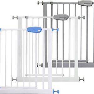 IB-Style-Barrire-de-scurit-Megane-blanc-gris-74-cm-143-cm--pression-sans-percage-Rglable-de-74-87-cm-0