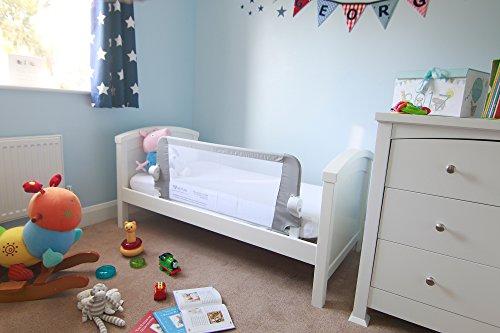 achat venture qfix barri re de lit rail de lit portable et pliable 99 cm x 42 cm blanc gris. Black Bedroom Furniture Sets. Home Design Ideas