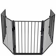 KIDUKU-Barrire-de-scurit-grille-de-protection-mtal-Parc-pour-enfants-Parc--bb-Grillage-Scurit-enfants-Longueur-de-300-cm-noir-0-0