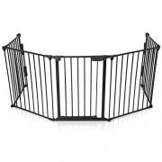 Baby-Vivo-Barrire-Parc-en-Mtal-Grille-pour-Chemine-41-Pare-feu-Securit-Escaliers-Enfant-en-Noir-4-barreaux-avec-une-porte-STANDARD-0-0