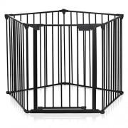 Baby-Vivo-Barrire-Parc-en-Mtal-Grille-pour-Chemine-41-Pare-feu-Securit-Escaliers-Enfant-en-Noir-4-barreaux-avec-une-porte-STANDARD-0