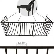 TecTake-402991-Barrire-de-Scurit-Enfant-Bb-Barrire-de-Chemine-Pare-Feu-Bb-Grille-de-Protection-Longueur-Totale-3-mtres-Noir-0-0