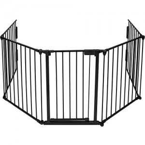 TecTake-402991-Barrire-de-Scurit-Enfant-Bb-Barrire-de-Chemine-Pare-Feu-Bb-Grille-de-Protection-Longueur-Totale-3-mtres-Noir-0
