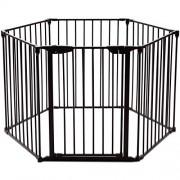 COSTWAY-Barrire-de-Scurit-Enfant-Clture-de-Chemine-en-FerPare-Feu-de-Chemine-6-Pans-380x75cm-Noir-0