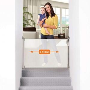 Dreambaby-0-140cm-Barrire-de-Scurit-ExtensibleRtractable-pour-Portes-et-Escaliers-Extra-Haut-Relocalisable-pour-une-Utilisation--lIntrieure-et--lExtrieure-Version-2019-Blanc-0